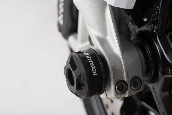Kit de topes anticaidas para el eje delantero Negro. BMW F800R,R1200,R1250,RnineT,S1000XR.